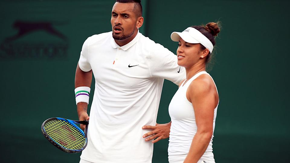 Nick Kyrgios and Desirae Krawczyk, pictured here in action during the mixed doubles at Wimbledon in 2019.