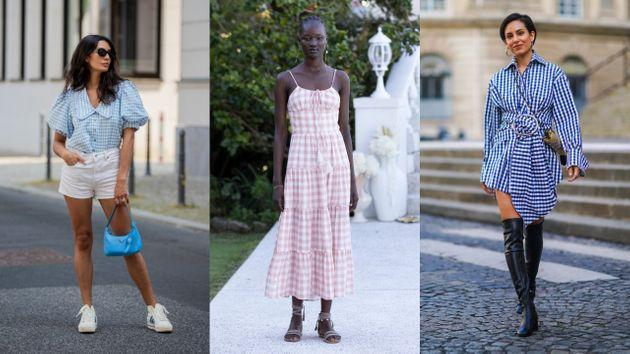 Gingham has appeared on many runways and street-style photo shoots of late. (Photo: Getty Images/Christian Vierig/Matt Jelonek/Edward Berthelot)