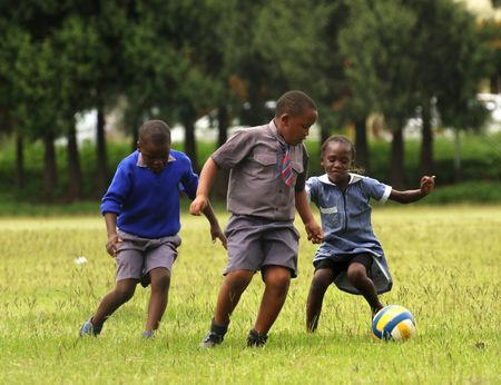 Zimbabwean schoolchildren play soccer during a teachers' strike in Harare, Zimbabwe, February 8, 2019. REUTERS/Philimon Bulawayo