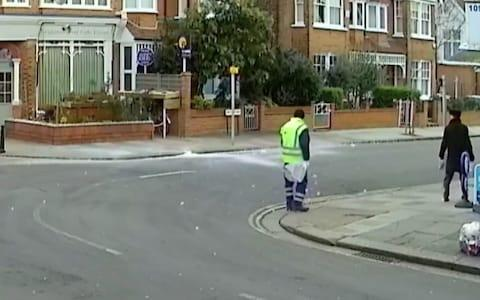Amir Khan, 39, was driving past when he managed to capture the dramatic moment on his dashboard security camera - Credit: Sky News