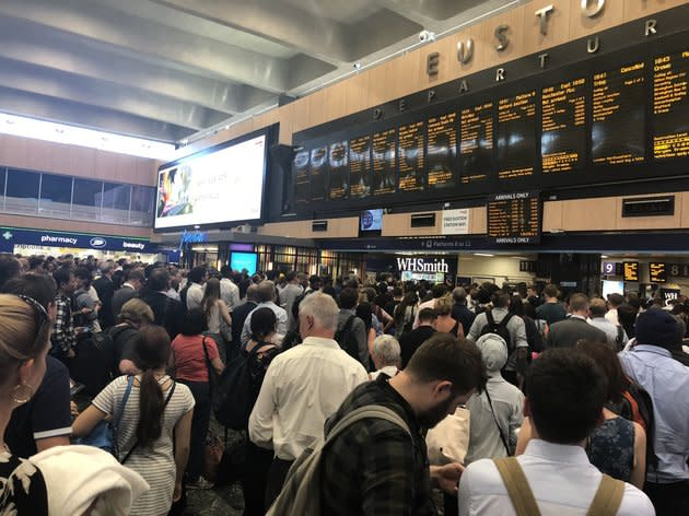 Commuters at London's Euston station faced huge delays and cancellations on Monday evening.