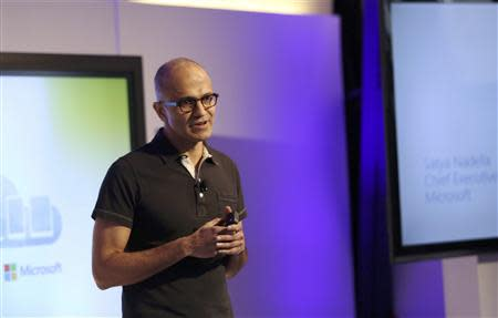 Microsoft CEO Satya Nadella speaks at a Microsoft event in San Francisco, California March 27, 2014. Nadella made his first major public appearance since taking the helm of the world's largest software maker. REUTERS/Robert Galbraith