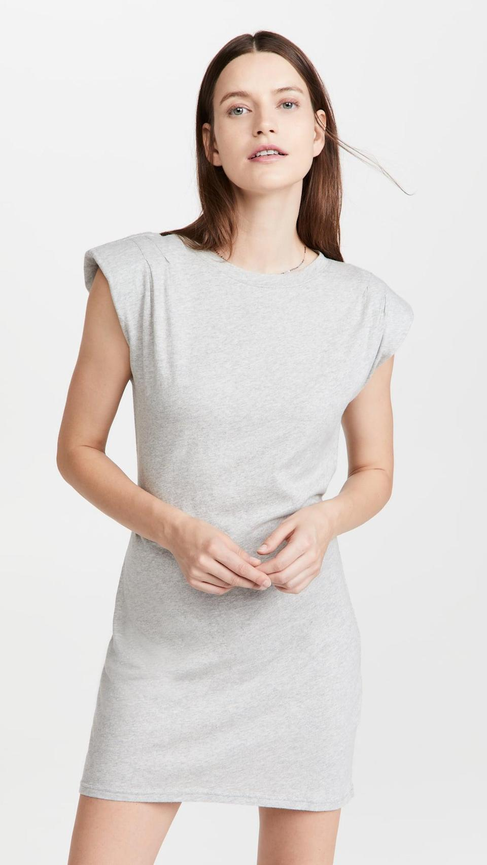<p>This <span>Frame Padded Shoulder Dress</span> ($228) is such a chic take on a t-shirt dress. The shoulder pads add the right amount of edge.</p>