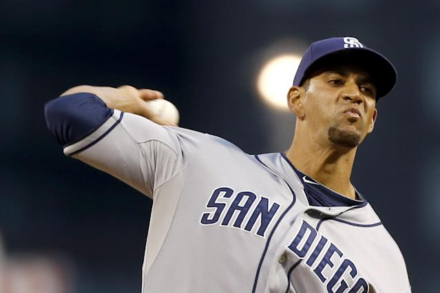 San Diego Padres starting pitcher Tyson Ross throws against the Pittsburgh Pirates in the first inning of a baseball game Wednesday, Sept. 18, 2013, in Pittsburgh. (AP Photo/Keith Srakocic)