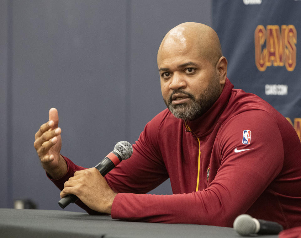 Cleveland Cavaliers head coach J.B. Bickerstaff speaks with reporters during a news conference introducing Cavs first round draft choice Evan Mobley at the Cavaliers training facility in Independence, Ohio, Friday, July 30, 2021. Mobley was the third selection of the draft. (AP Photo/Phil Long)