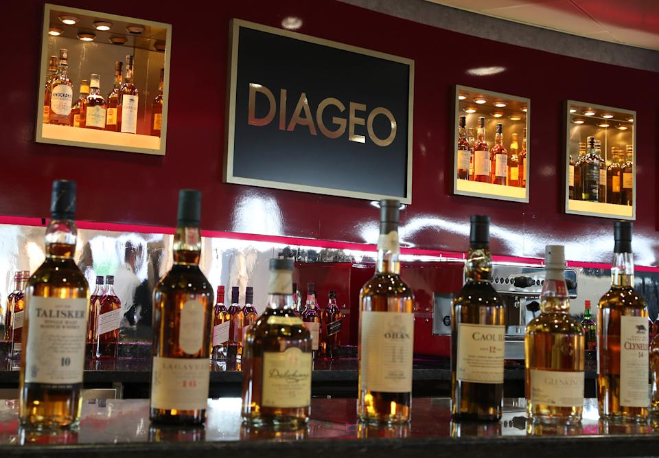Diageo owned whiskies on a bar at their headquarters in Edinburgh where Diageo announced a £150 million investment over three years to transform its scotch whisky visitor experiences.  (Photo by Andrew Milligan/PA Images via Getty Images)