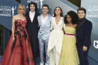 Cara Buono, from left, Finn Wolfhard, Noah Schnapp, Millie Bobby Brown, Priah Ferguson, and Gaten Matarazzo arrive at the 26th annual Screen Actors Guild Awards at the Shrine Auditorium & Expo Hall on Sunday, Jan. 19, 2020, in Los Angeles. (Photo by Jordan Strauss/Invision/AP)