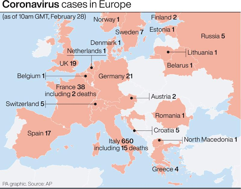 A map showing recorded coronavirus cases in Europe. (PA)
