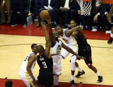 May 24, 2018; Houston, TX, USA; Houston Rockets guard Chris Paul (3) shot is blocked by Golden State Warriors forward Draymond Green (23) during the fourth quarter in game five of the Western conference finals of the 2018 NBA Playoffs at Toyota Center. Mandatory Credit: John Glaser-USA TODAY Sports