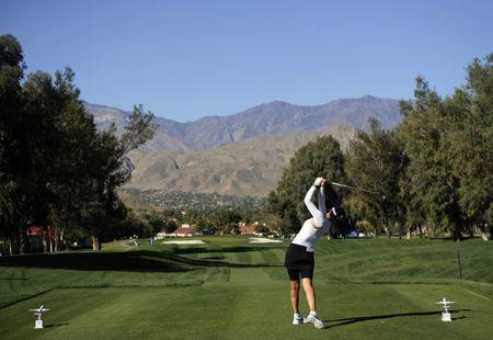 March 30, 2017; Rancho Mirage, CA, USA; Michelle Wie hits from the third course tee box during the first round of the ANA Inspiration golf tournament at Mission Hills CC-Dinah Shore Tournament Course. Gary A. Vasquez-USA TODAY Sports