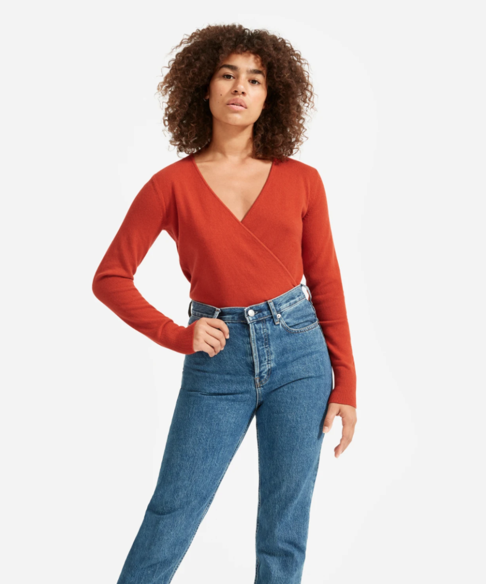 The Cashmere Wrap Sweater in Rust.