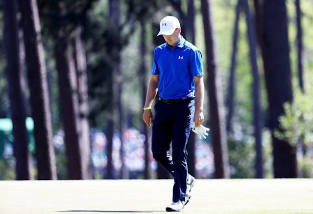 Jordan Spieth didn't have a good time on the 12th hole on Sunday. (Getty Images)