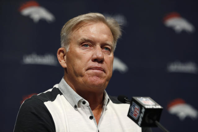 FILE - In this June 17, 2019, file photo John Elway, general manager of the Denver Broncos, speaks during a news conference at the NFL team's headquarters in Englewood, Colo. Elway said Friday, Oct. 11, 2019, hat despite Denver's 1-4 start none of his veteran players are on the trading block and that he remains committed to seeing his beloved Broncos out of their prolonged plummet. (AP Photo/David Zalubowski, File)