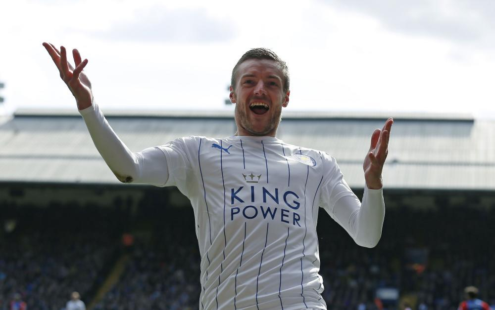 Jamie Vardy celebrates scoring for Leicester.