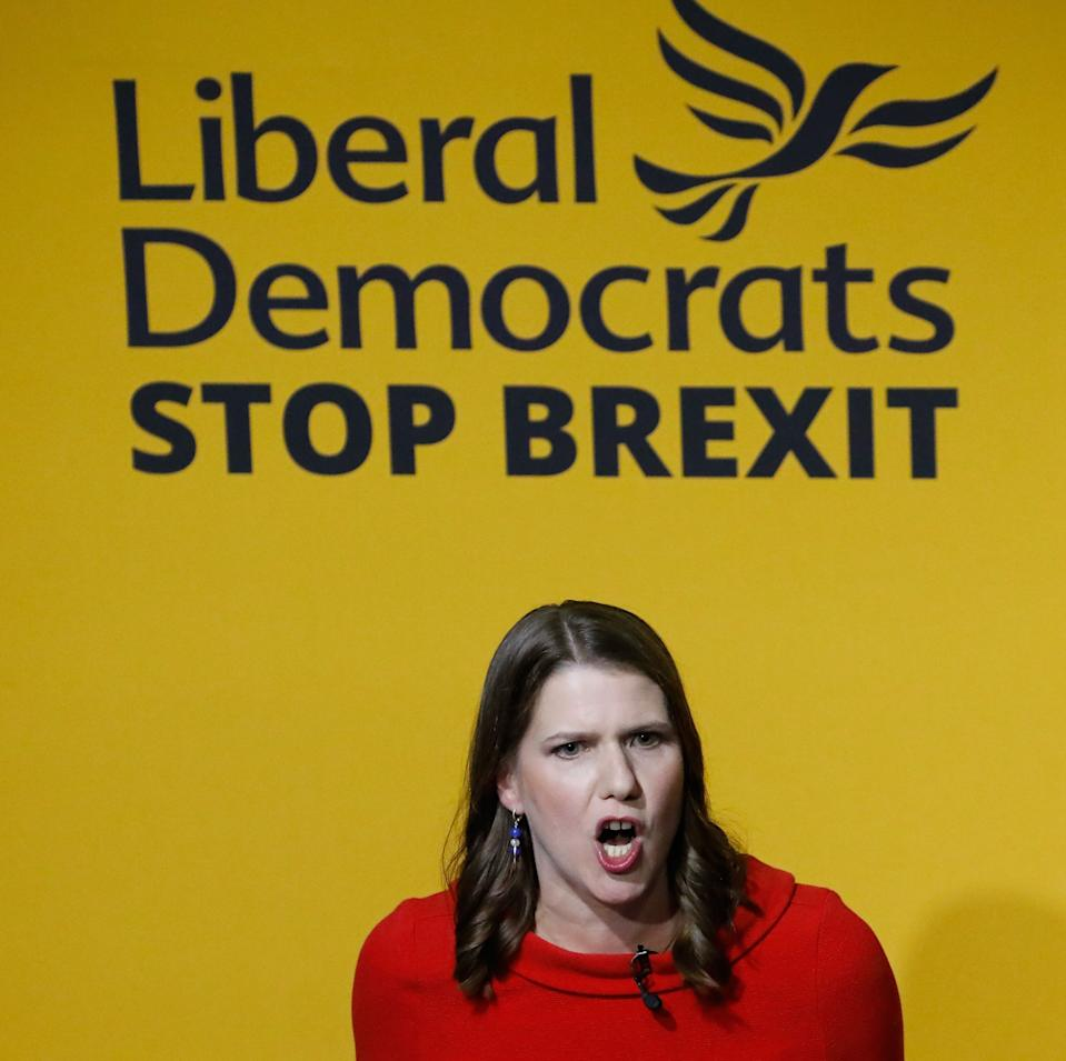 New Liberal Democrat leader Jo Swinson speaks on stage at an event annoucing the result of the leadership contest in central London on July 22, 2019. - Jo Swinson, Vince Cable's deputy for two years, was unveiled as the new leader of the Liberal Democrats. (Photo by Tolga AKMEN / AFP)        (Photo credit should read TOLGA AKMEN/AFP/Getty Images)