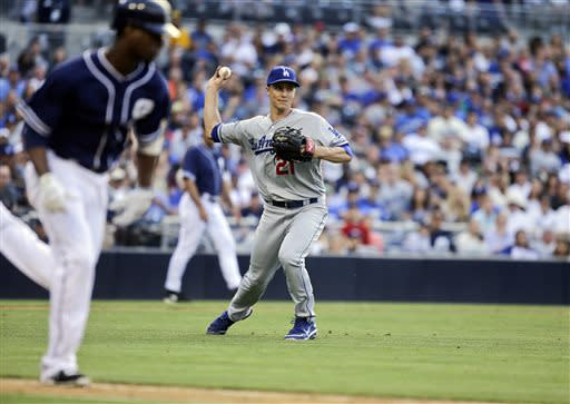 Los Angeles Dodgers starting pitcher Zack Greinke throws out San Diego Padres' Pedro Ciriaco after fielding the ball in the eighth inning of a baseball game in San Diego, Saturday, June 22, 2013. (AP Photo/Lenny Ignelzi)