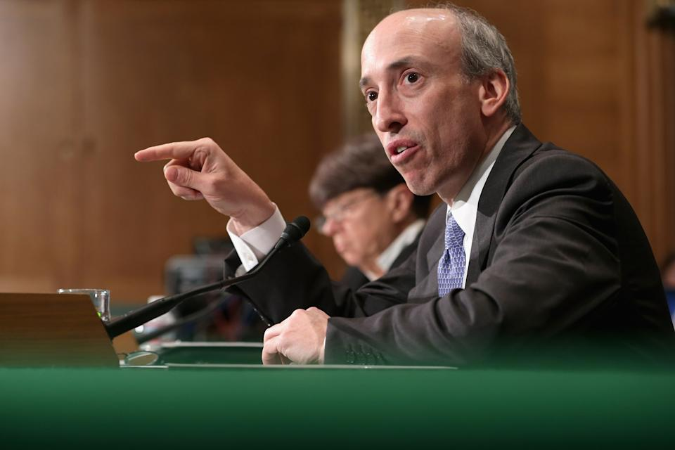 WASHINGTON, DC - JULY 30:  Commodity Futures Trading Commission Chairman Gary Gensler testifies before the Senate Banking, Housing and Urban Affairs Committee in the Dirksen Senate Office Building on Capitol Hill July 30, 2013 in Washington, DC. Gensler and Securities and Exchange Commission Chairman Mary Jo White testified and took questions from Senators during the hearing titled,
