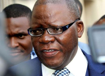FILE PHOTO: Lawyer Tendai Biti, former finance minister, speaks to journalits in capital Harare