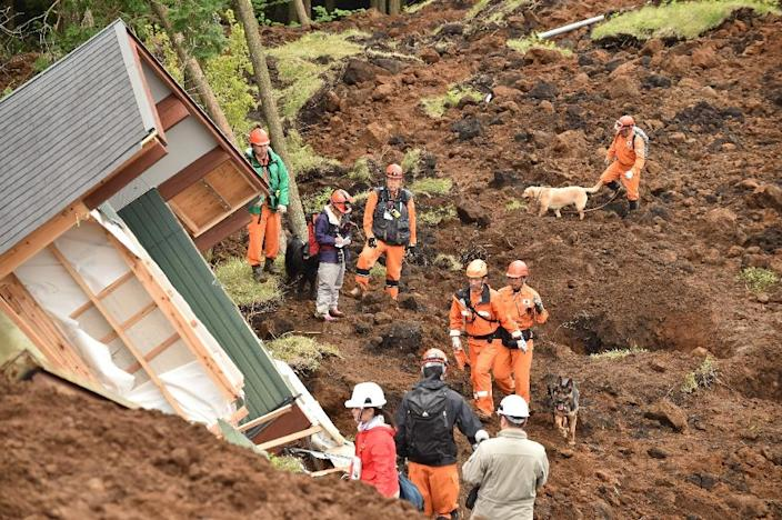 Rescuers and their guide dogs search for victims buried in a landslide due to the recent earthquakes in the village of Minami-Aso, Japan's Kumamoto prefecture, on April 18, 2016 (AFP Photo/Kazuhiro Nogi)