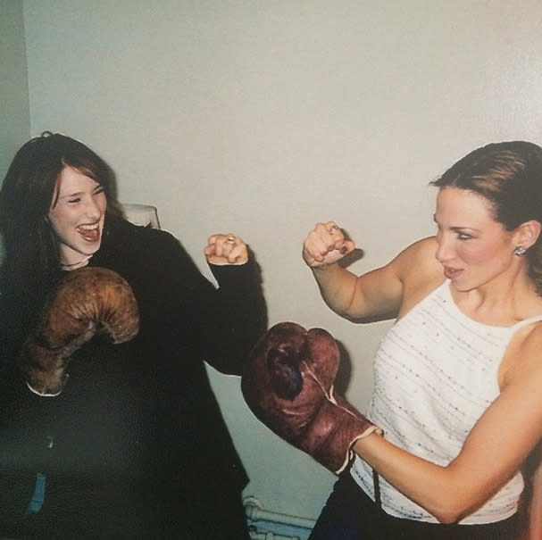 """<p>Pop stars Debbie Gibson and Tiffany, acting out their so-called rivalry: """"My friend Tiff is a knock out! #TBT to 1999 backstage at #JosephtheMusical tour where she came to support me."""" -<a href=""""http://tmblr.co/mlOdh9ncOpYPSof3MWQ9Yxw"""" rel=""""nofollow noopener"""" target=""""_blank"""" data-ylk=""""slk:@debbiegibson"""" class=""""link rapid-noclick-resp"""">@debbiegibson</a> (Instagram)</p>"""