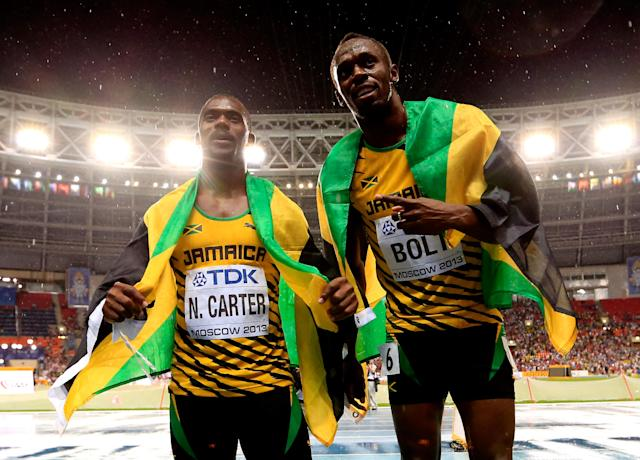 "Nesta Carter's positive doping test means that <a class=""link rapid-noclick-resp"" href=""/olympics/rio-2016/a/1056797/"" data-ylk=""slk:Usain Bolt"">Usain Bolt</a> won't get his ninth gold medal back. (Getty Images)"