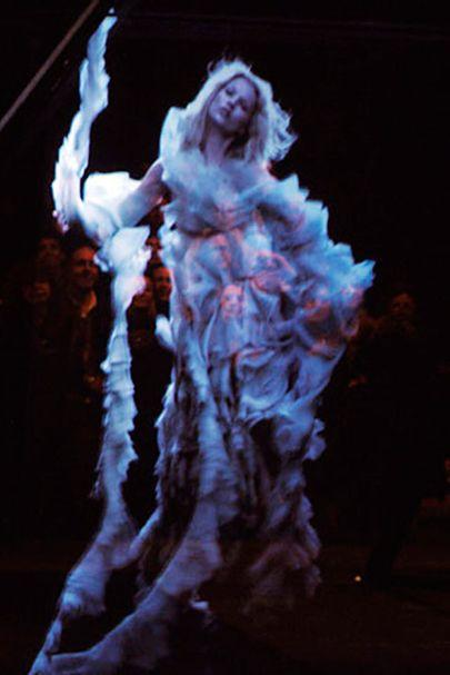 <p>When a holographic Tupac took to the stage at Coachella in 2011, the world was stunned. But the fashion world had already seem something similar five years before. Alexander McQueen's 2006 AW show featured a holographic Kate Moss in a McQueen get-up. It came shortly after she'd been caught with drugs and had decided to take a break from the fashion industry, making the effect all the more chilling. (Rex Features) </p>