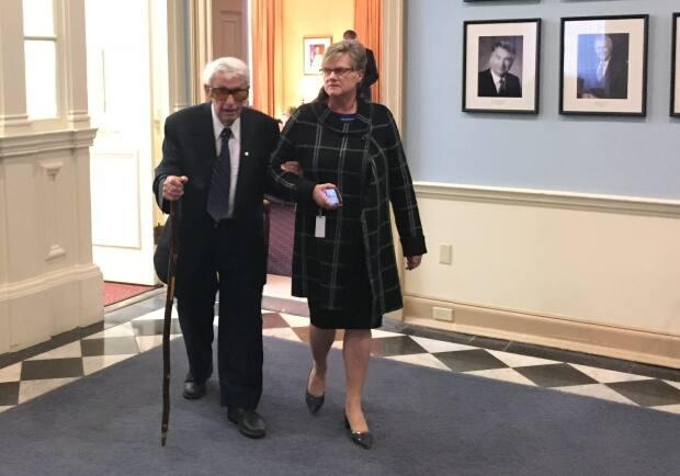 Roger Bacon, left, is shown in 2017 at Province House in Halifax. (Jean Laroche/CBC - image credit)
