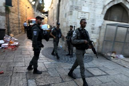 Israeli police secure the site of a suspected stabbing attack in JerusalemÕs Old City August 17, 2018. REUTERS/Ammar Awad