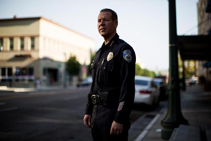 """Police Chief Eric Jones in downtown Stockton in 2016. <span class=""""copyright"""">(Max Whittaker)</span>"""
