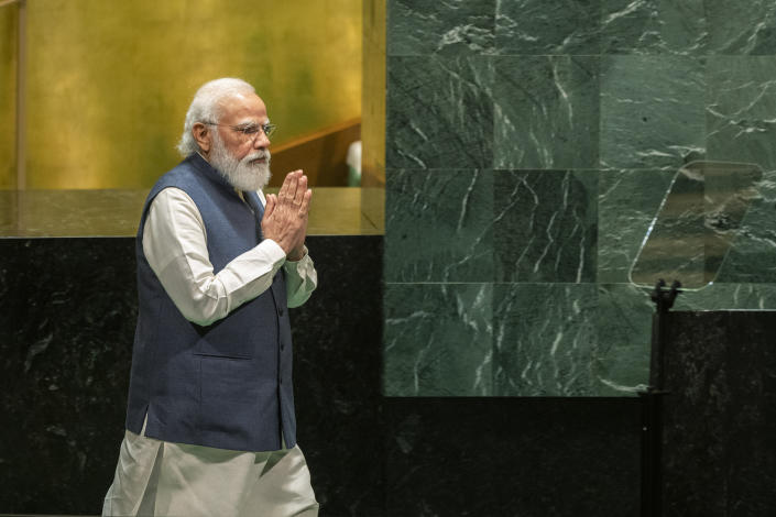 India's Prime Minister Narendra Modi arrives to address the 76th Session of the U.N. General Assembly at United Nations headquarters in New York, on Saturday, Sept. 25, 2021. (Eduardo Munoz /Pool Photo via AP)