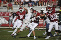 Portland State's Davis Alexander throws a pass against Arkansas during the second half of an NCAA college football game Saturday, Aug. 31, 2019, in Fayetteville, Ark. (AP Photo/Michael Woods)