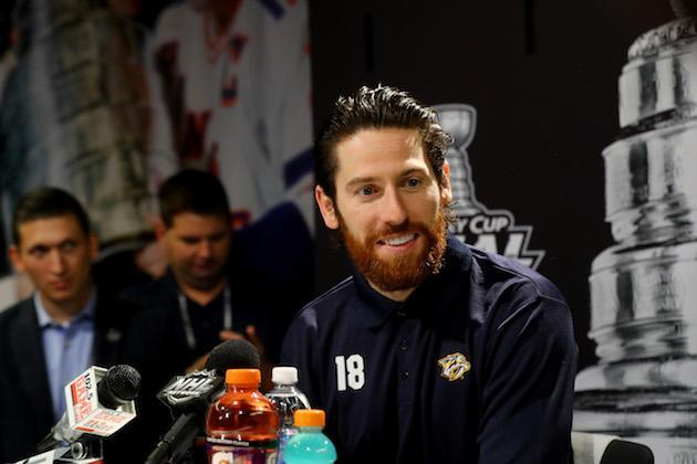 "PITTSBURGH, PA – MAY 28: <a class=""link rapid-noclick-resp"" href=""/nhl/players/3818/"" data-ylk=""slk:James Neal"">James Neal</a> #18 of the <a class=""link rapid-noclick-resp"" href=""/nhl/teams/nas/"" data-ylk=""slk:Nashville Predators"">Nashville Predators</a> answers questions during Media Day for the 2017 NHL Stanley Cup Final at PPG PAINTS Arena on May 28, 2017 in Pittsburgh, Pennsylvania. (Photo by Bruce Bennett/Getty Images)"