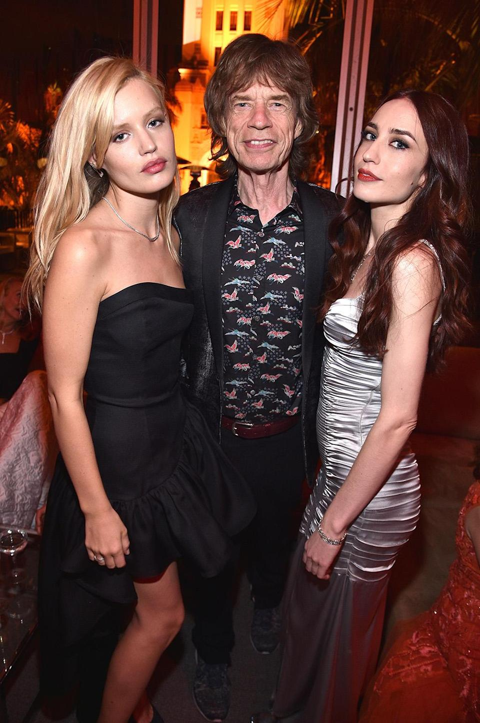 <p>Mick Jagger with daughters Georgia May Jagger and Elizabeth Jagger attend the 2017 Vanity Fair Oscar Party hosted by Graydon Carter at Wallis Annenberg Center for the Performing Arts on February 26, 2017 in Beverly Hills, California. (Photo by Kevin Mazur/VF17/WireImage) </p>