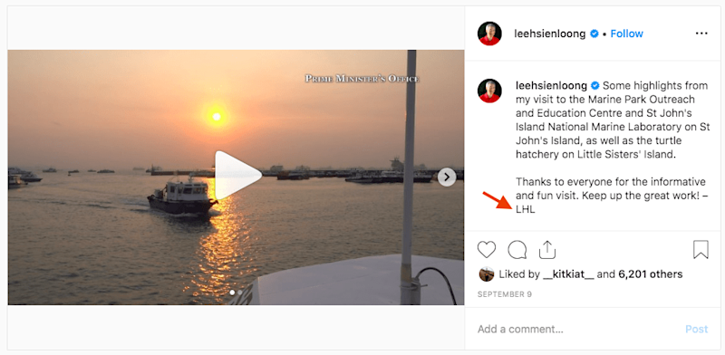 Screenshot: Prime Minister Lee Hsien Loong's Instagram