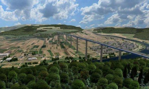 The planned motorway and bridge crossing the river Mosel near Graach, Southern Germany