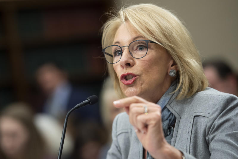 UNITED STATES - FEBRUARY 27: Education Secretary Betsy DeVos testifies before the House Appropriations Committee Labor, Health and Human Services, Education and Related Agencies Subcommittee in Washington on Thursday, Feb. 27, 2020. (Photo by Caroline Brehman/CQ-Roll Call, Inc via Getty Images)