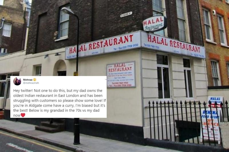 Oldest Indian Restaurant in East London Struggles in Pandemic, Tweets For Help and Love