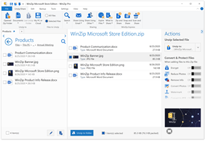WinZip Microsoft Store Edition leverages the power of WinZip's legendary compression, file management, and banking-level encryption capabilities.