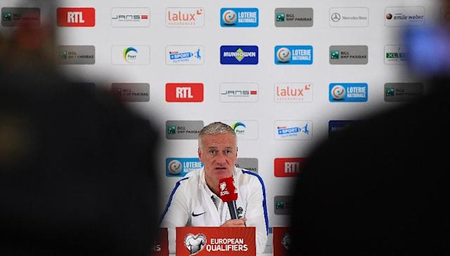 France's head coach Didier Deschamps gives a press conference at the Josy Bartel stadium in Luxembourg, on March 24, 2016, on the eve of the FIFA World Cup 2018 qualifying football match against Luxembourg (AFP Photo/FRANCK FIFE)