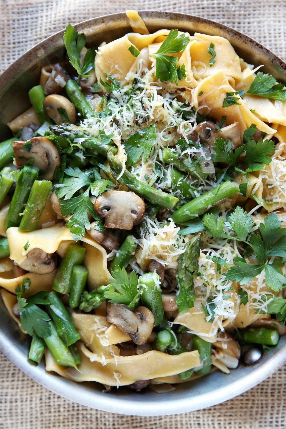 """<p>BRB, eating asparagus all season long.</p><p>Get the recipe from <a href=""""/cooking/recipe-ideas/recipes/a46724/spring-asparagus-and-mushroom-papardelle-recipe/"""" data-ylk=""""slk:Delish"""" class=""""link rapid-noclick-resp"""">Delish</a>.</p>"""