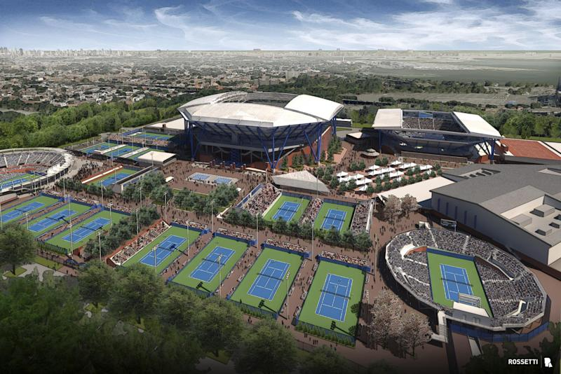 This undated artist's rendering provided by the U.S. Tennis Association and architectural firm Rossetti shows the USTA Billie Jean King National Tennis Center, including a retractable roof for Arthur Ashe Stadium. The USTA says a retractable roof will be constructed over Arthur Ashe Stadium, the main venue for the U.S. Open. The Ashe roof is part of a larger plan to rebuild and expand other courts at the Billie Jean King National Tennis Center. No. 2 stadium Louis Armstrong will eventually be covered, too. (AP Photo/USTA and Rossetti)