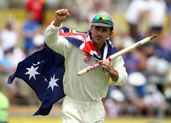 PERTH, AUSTRALIA - DECEMBER 18: Justin Langer of Australia celebrates after Australia's victory on day five of the third Ashes Test Match between Australia and England at the WACA on December 18, 2006 in Perth, Australia. Australia's victory in the third Test Match means they regain the Ashes. (Photo by Paul Kane/Getty Images)