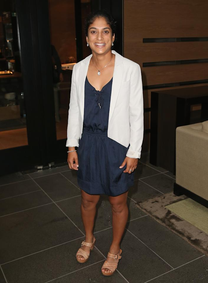 MELBOURNE, AUSTRALIA - MARCH 08:  Lisa Sthalekar of the Southern Stars arrives at the Australian Southern Stars World Cup celebration dinner at The Grand Hyatt on March 8, 2013 in Melbourne, Australia.  (Photo by Scott Barbour/Getty Images)