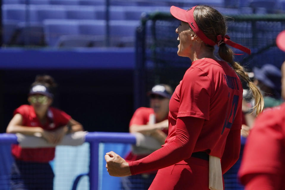 United States' Monica Abbott reacts in the sixth inning of a softball game against Australia at the 2020 Summer Olympics, Sunday, July 25, 2021, in Yokohama, Japan. (AP Photo/Sue Ogrocki)