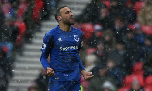Two goals from Cenk Tosun give Everton snowy victory over Stoke City
