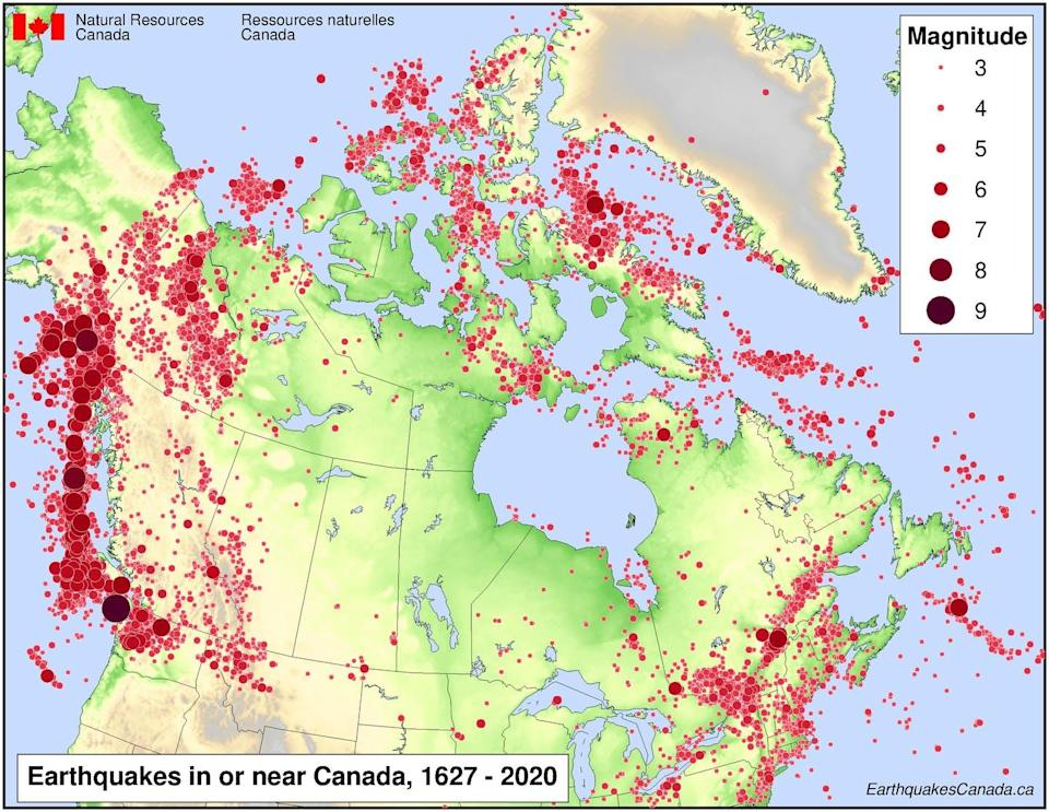 Map showing earthquakes in or near Canada between 1967 and 2020.