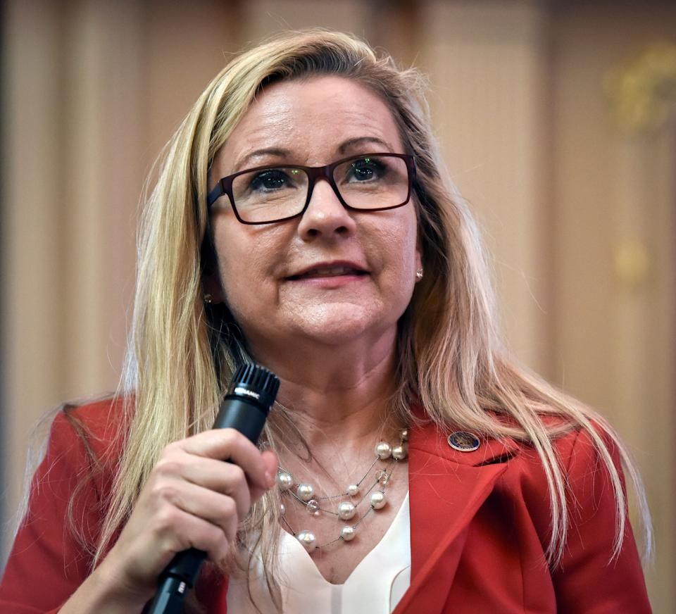 Virginia state Sen. Amanda Chase (R) has protested what she sees as the state GOP's efforts to block her path to the Republican gubernatorial nomination. (Photo: Bill O'Leary/The Washington Post/Getty Images)