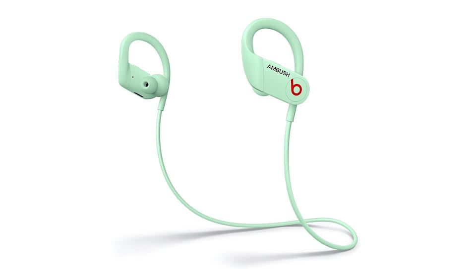 Beats announced a collaboration with fashion brand Ambush: a glow-in-the-dark version of its Powerbeats earbuds for $199.95.