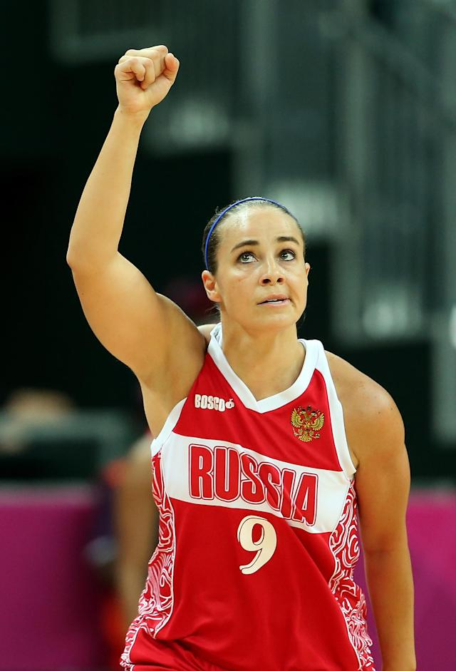 LONDON, ENGLAND - AUGUST 01: Becky Hammon #9 of Russia reacts after hitting a three point shot against Great Britain during the Women's Basketball Preliminary Round match on Day 5 of the London 2012 Olympic Games at Basketball Arena on August 1, 2012 in London, England. (Photo by Christian Petersen/Getty Images)