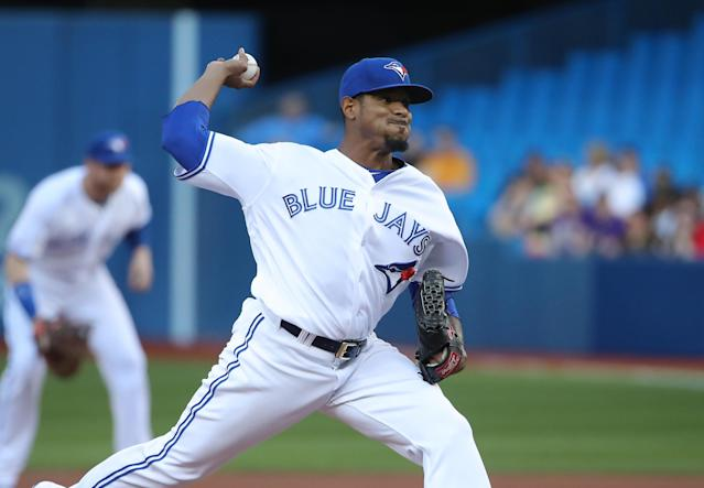 Edwin Jackson has been brutal in his Blue Jays tenure. (Photo by Tom Szczerbowski/Getty Images)